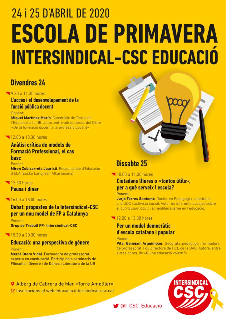 Escola de Primavera. Intersindical-CSC Educació