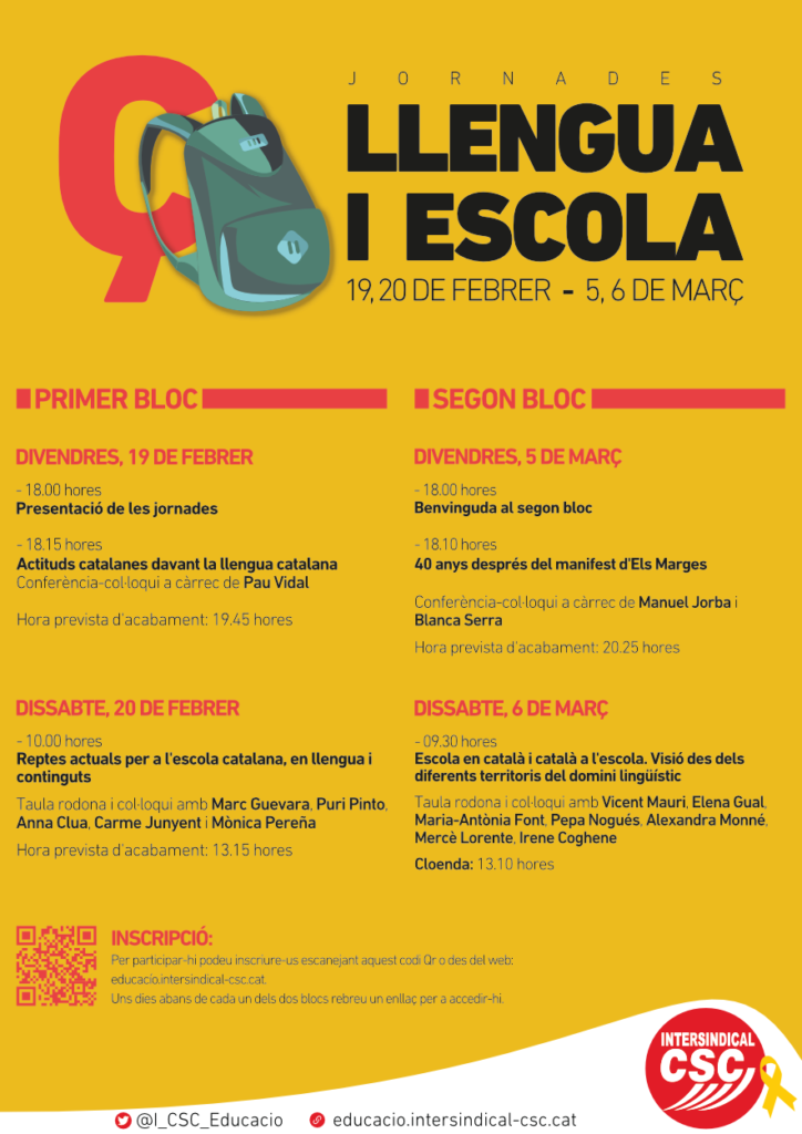 """Jornades """"Llengua i Escola"""" (febrer-març 2021) – Acadèmia Oberta als  Ensenyants"""